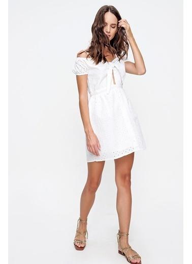 Pink Park Önü Bağlamalı İçi Astarlı Fisto Mini Elbise ESQ0037 Beyaz